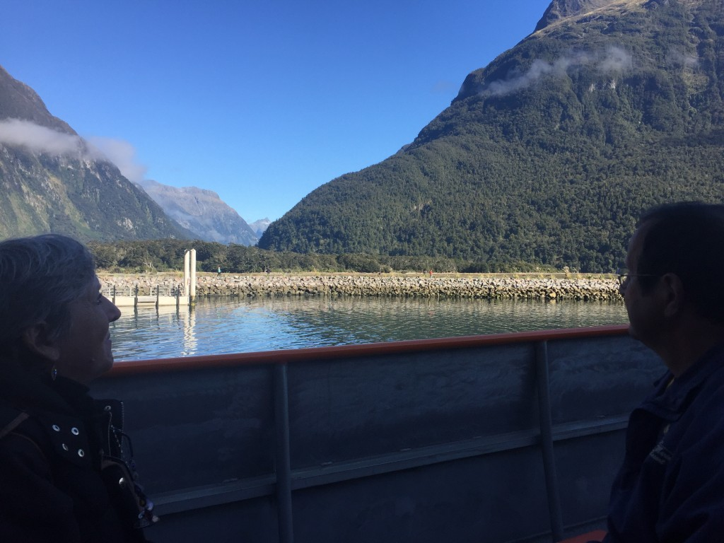 My parents taking in the views at Milford Sound