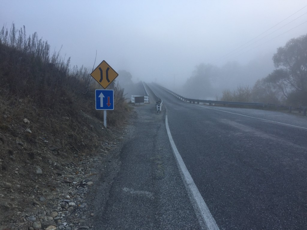 Bridge in Albert Town through the mist