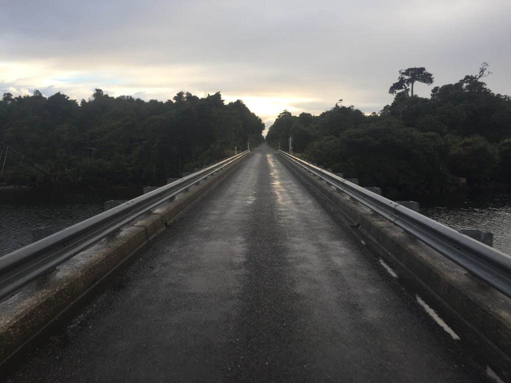 One lane bridge and flat terrain south of Haast