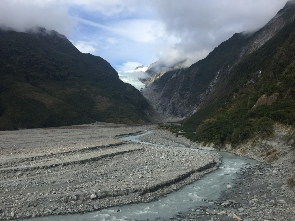 Our first sighting of Franz Josef Glacier and the riverbed where the glacier used to reach many years ago