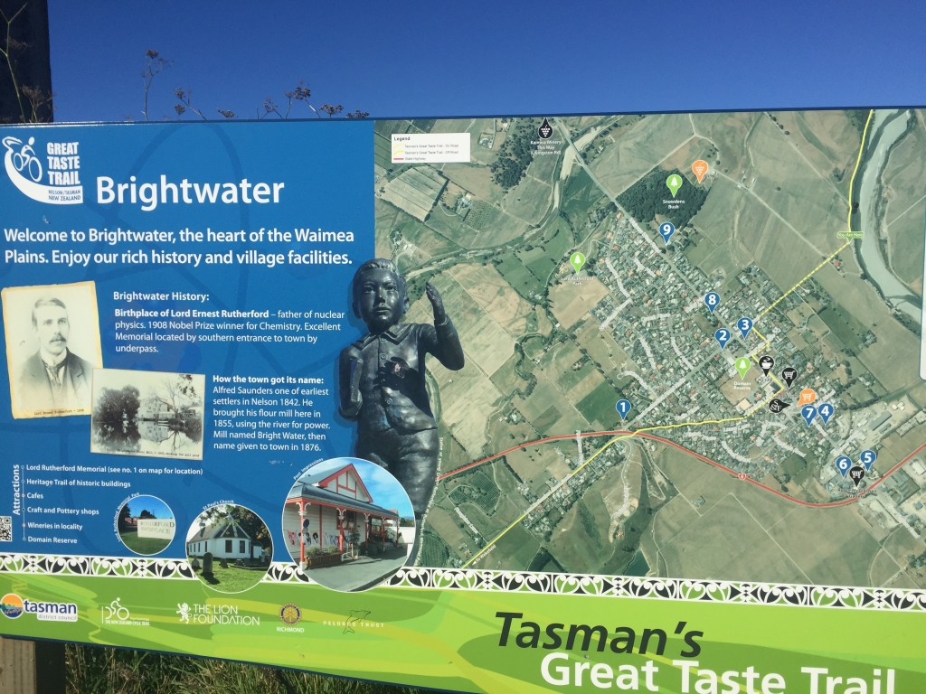 Some info on the town Brightwater. But I mostly stopped here to get my bearings on the Great Taste Trail which I would be taking into Nelson
