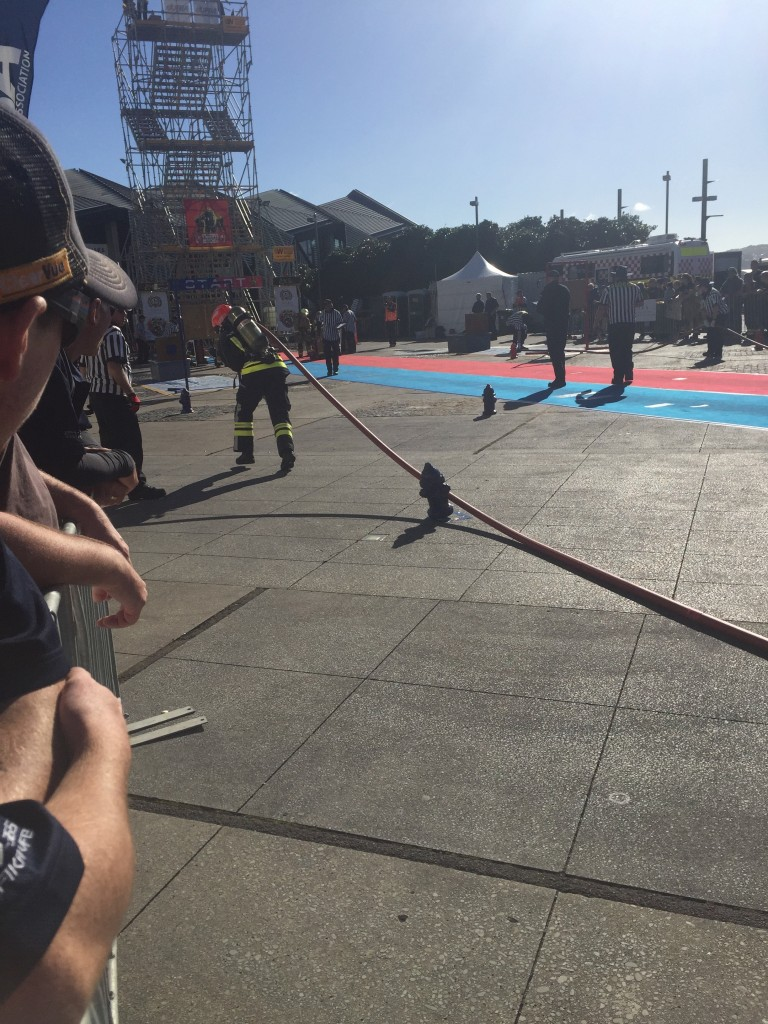 A firefighter obstacle course
