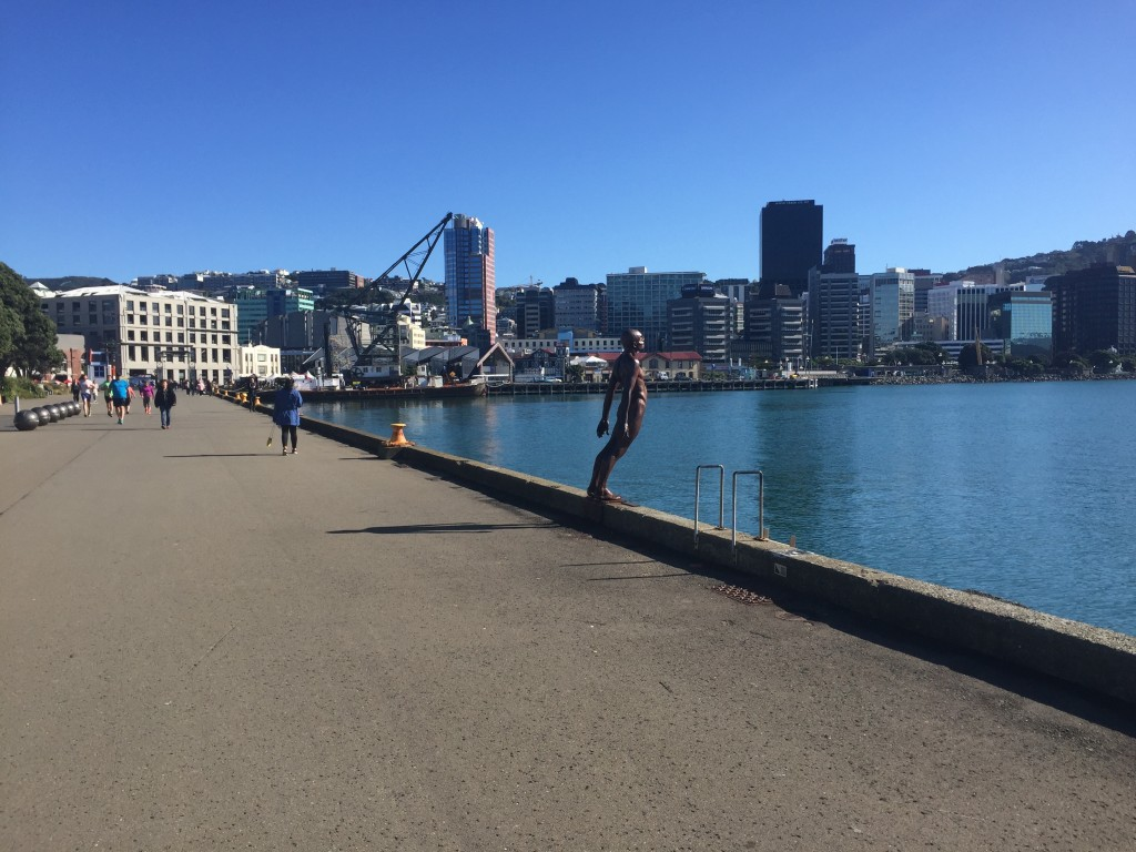 Wellington is known for its wind, this statue is representing a man leaning into a gale force wind