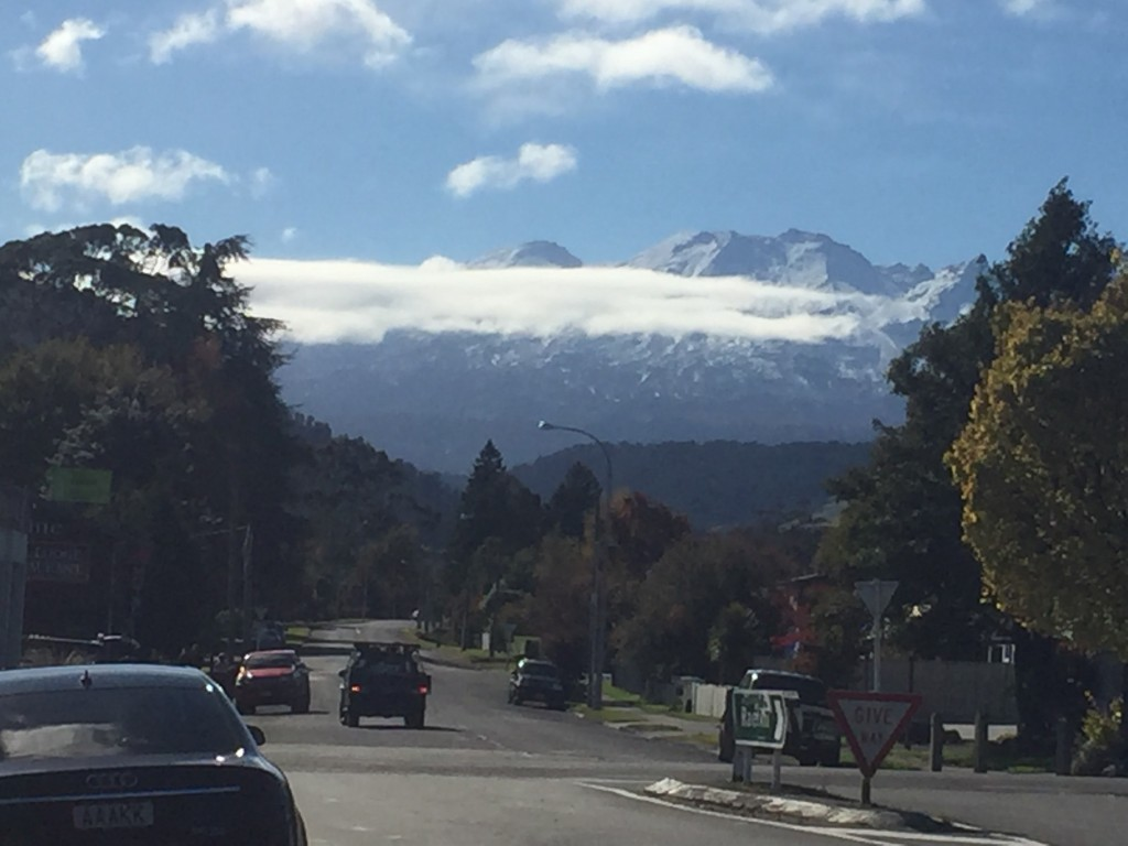 The town of Ohakune with Mount Ruapehu in the background
