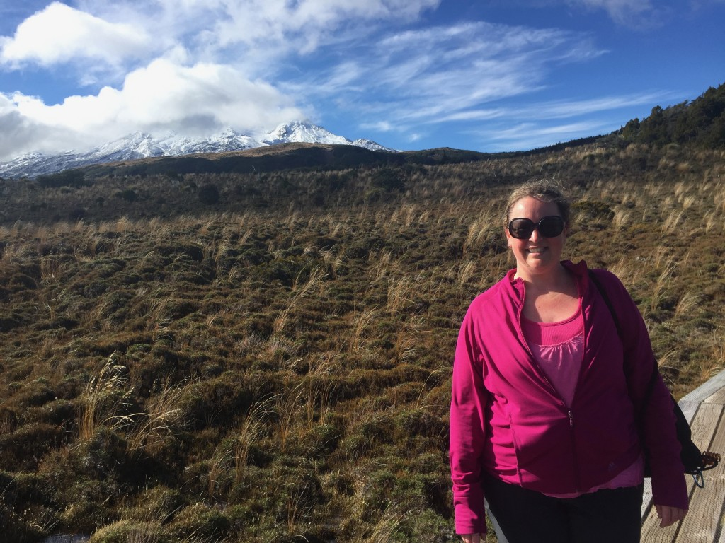 On the boardwalk with Mount Ruapehu in the background