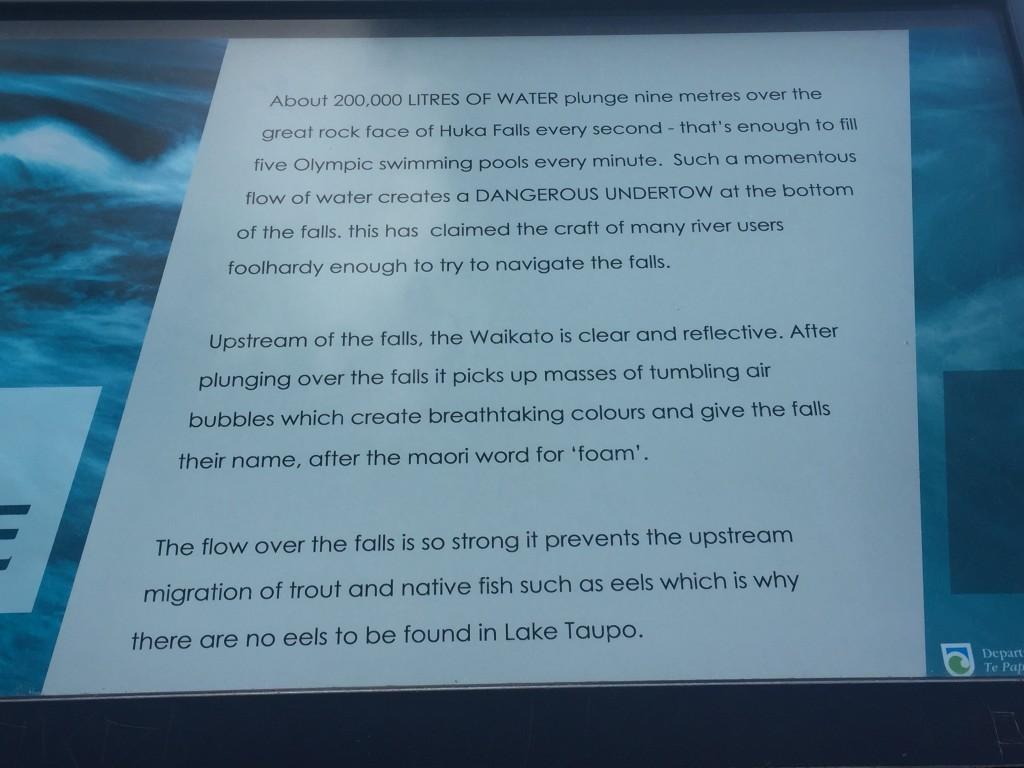 Some info on Huka Falls