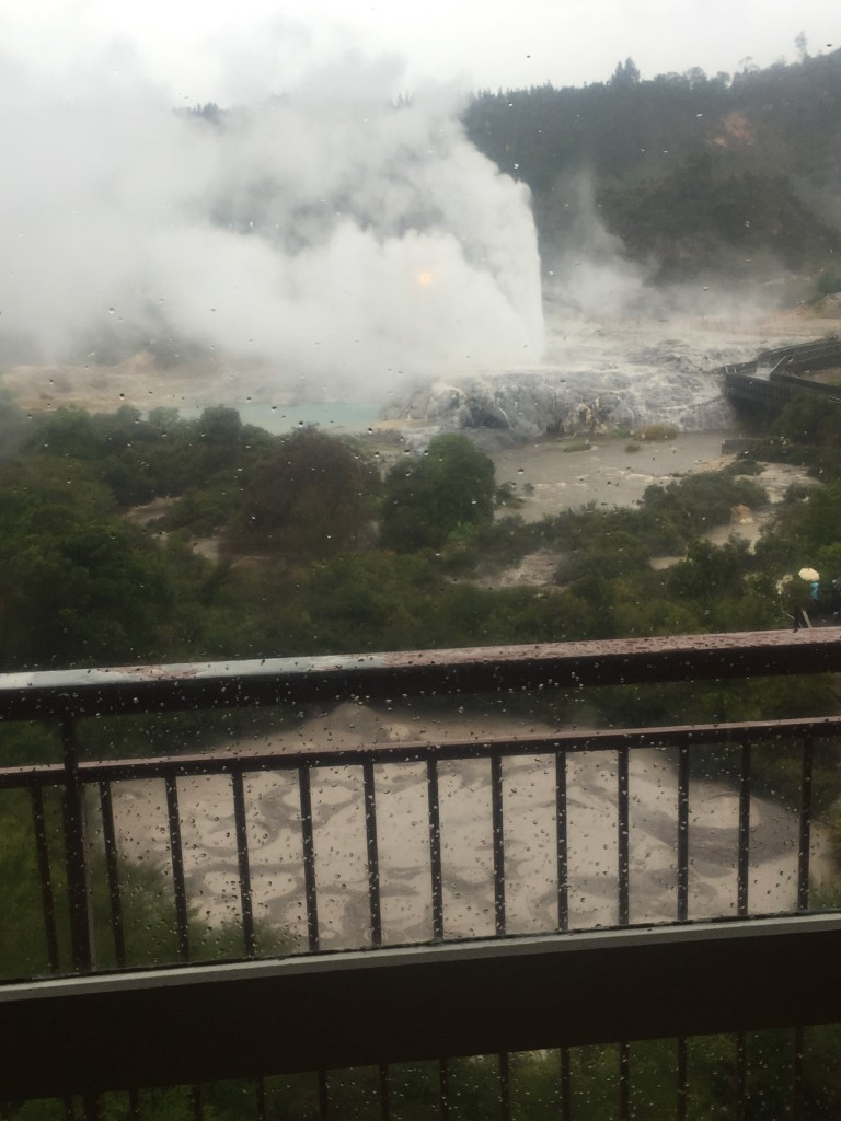The view of the geyser from my hotel on the 2nd day - notice the wind has now changed direction from yesterday!