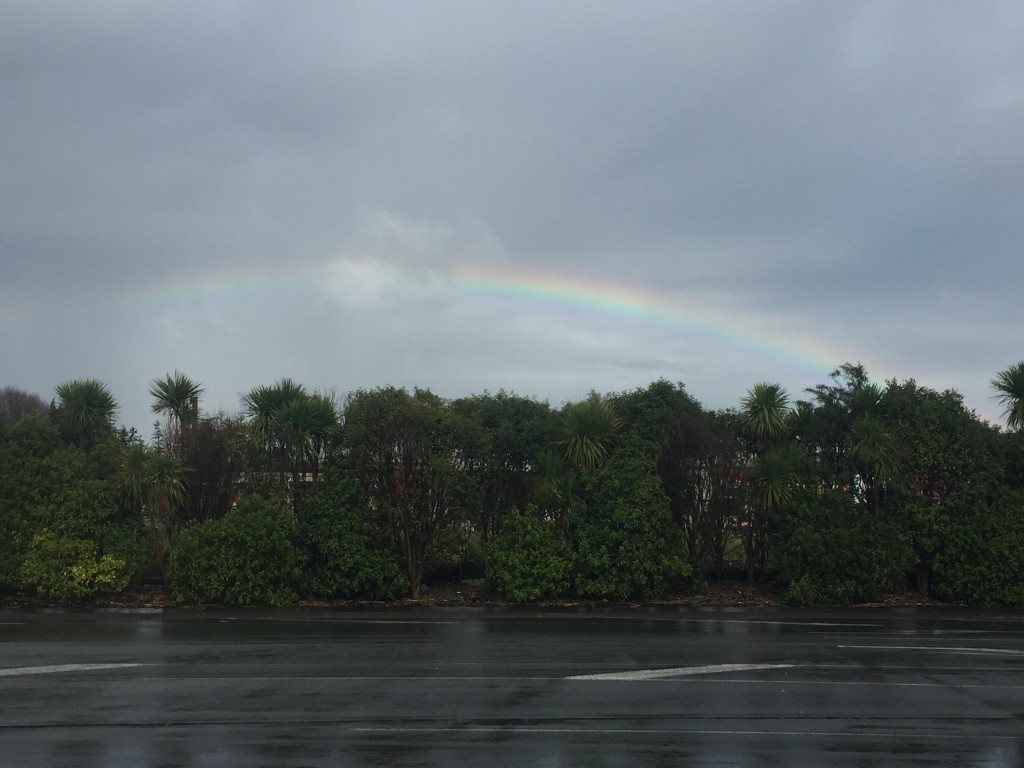 A rainbow in Pukukohe - even though it is a bit faint it still has extremely vibrant colours
