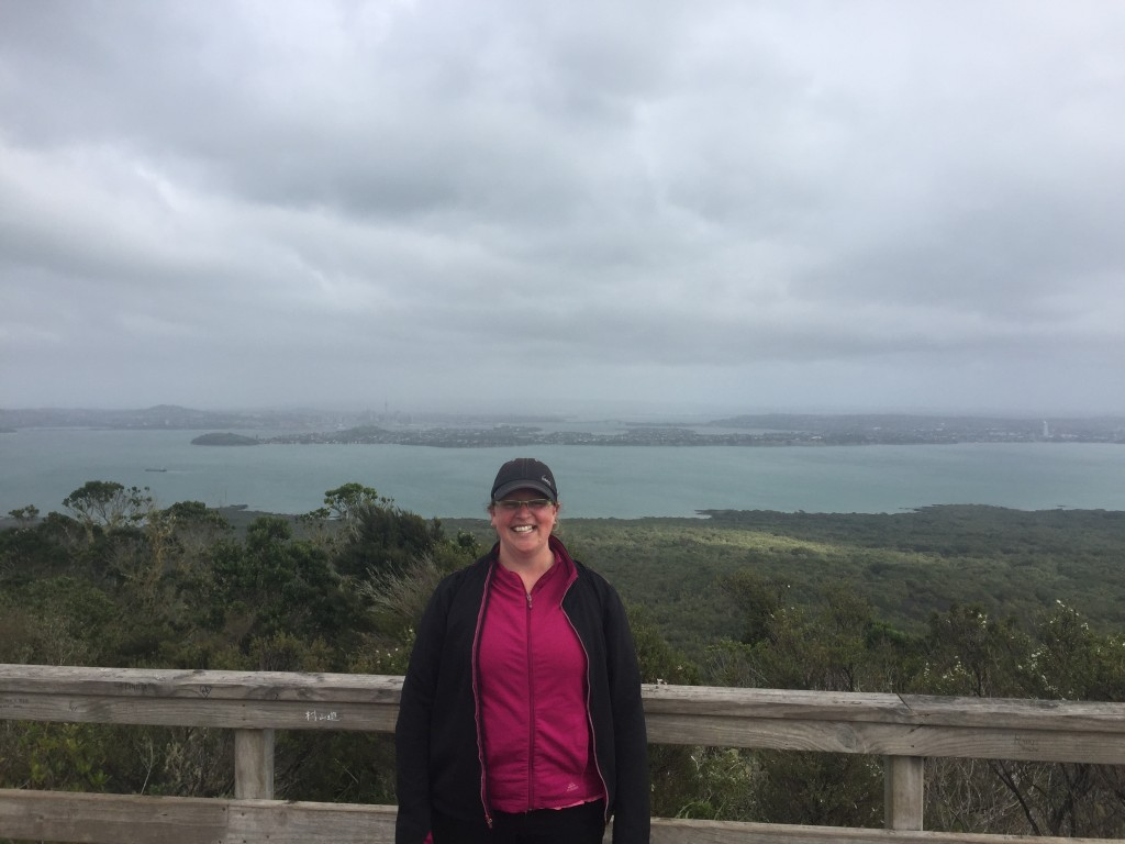 At the Rangitoto Summit with Auckland in the background