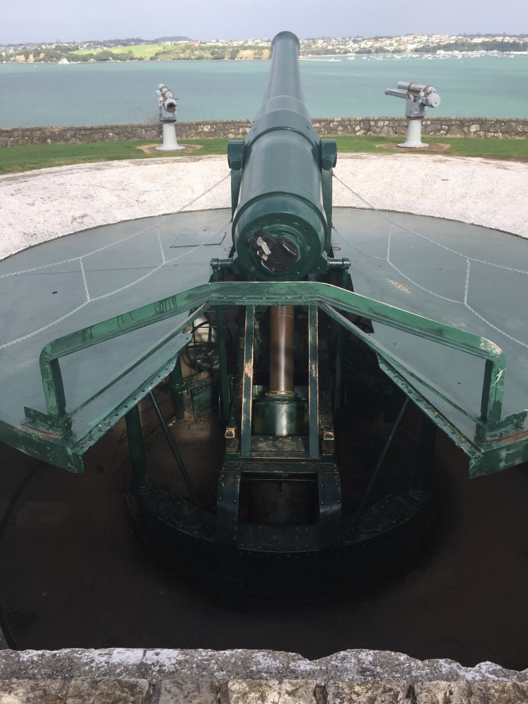The disappearing gun (after firing it automatically goes down the hole to be safely reloaded)