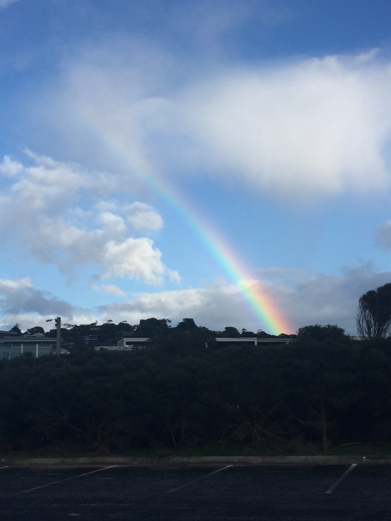 A rainbow at a first stop while having tea and coffee