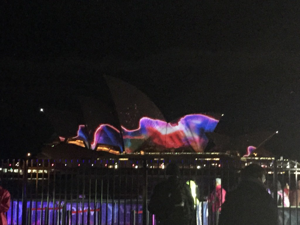 The lighting of the Opera House during Vivid Sydney
