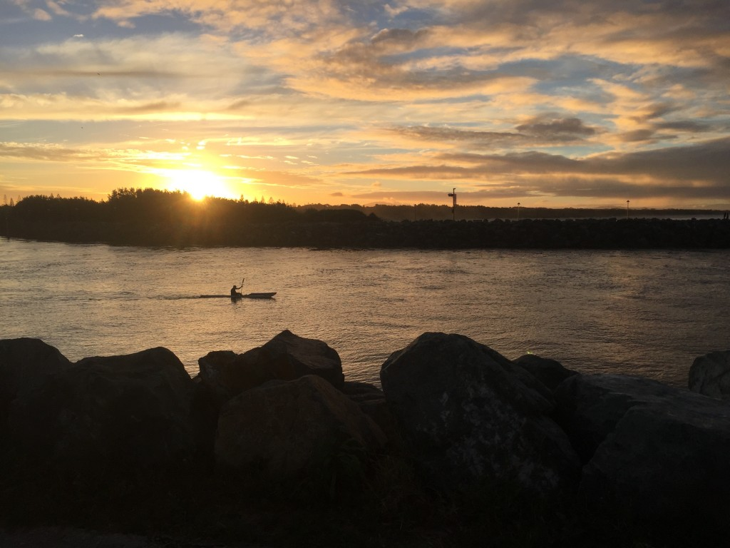 Kayaker out for a sunset paddle