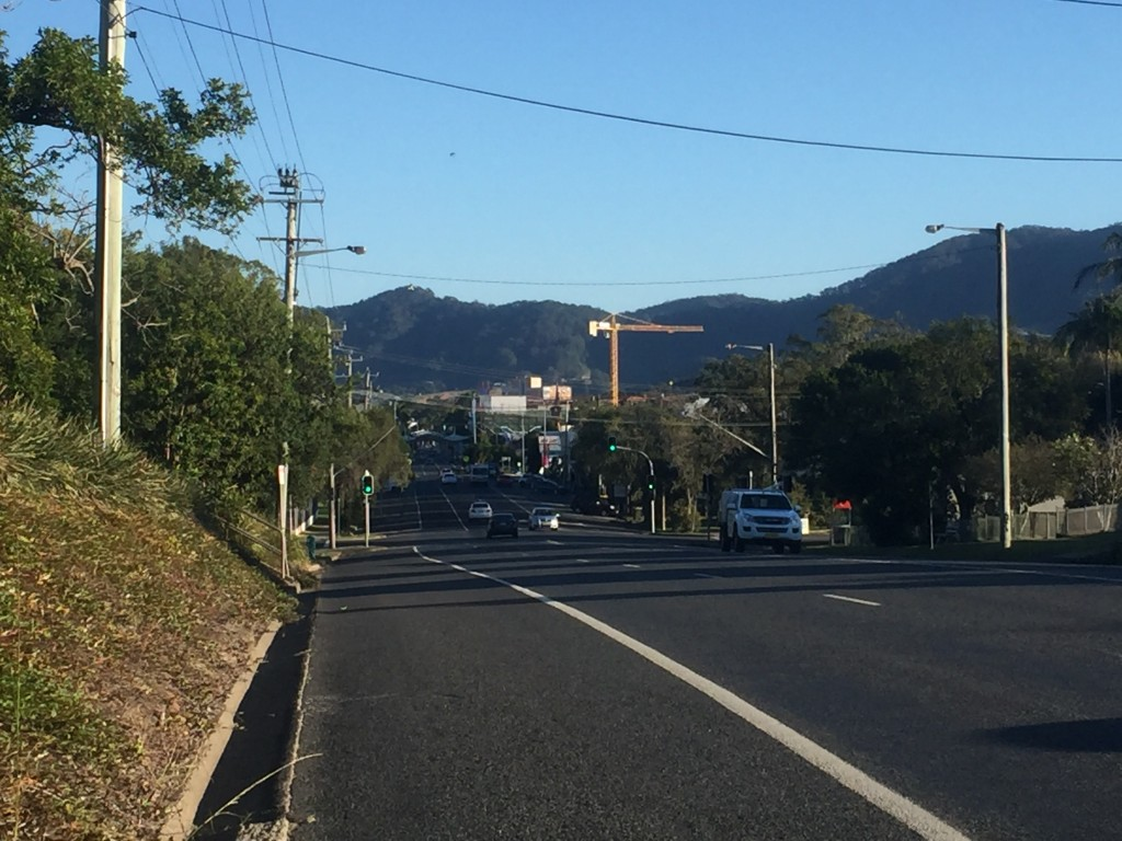 Downtown Coffs Harbour with the hills in the background that I would be climbing today