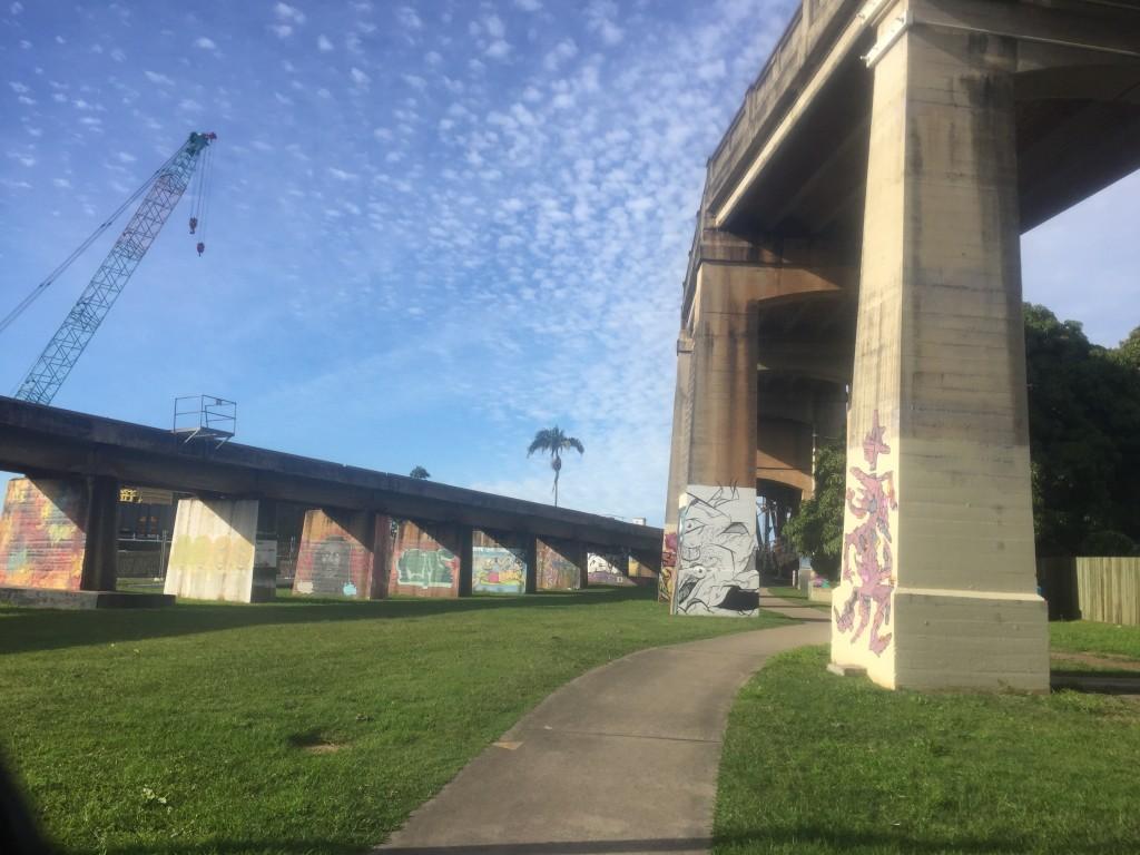 Grafitti art on the bottom of the bridge in Grafton