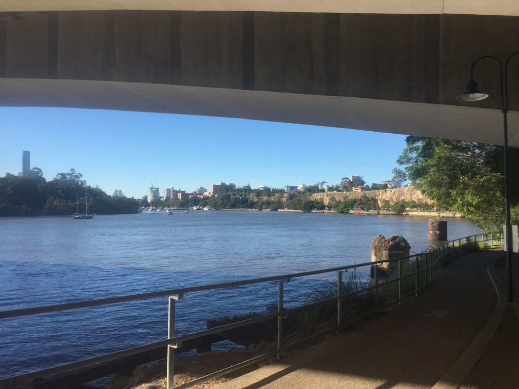My first glimpse of Brisbane when the path I was on led me to the southbank of the Brisbane river