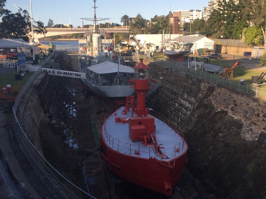 A dry dock at the Brisbane Maritime Museum