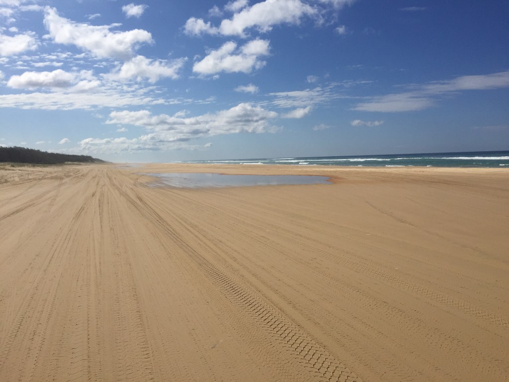 The highway on the east side of Fraser Island